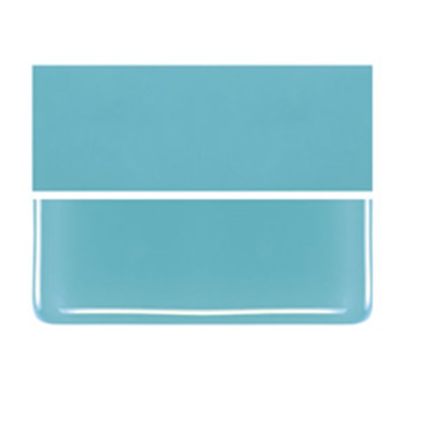 Bullseye Turquoise Blue - Opalescent - 2mm - Thin Rolled - Fusible Glass Sheets