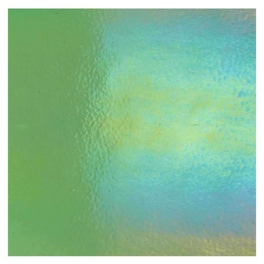 Bullseye Light Green - Transparent - Rainbow Iridescent - 3mm - Fusible Glass Sheets