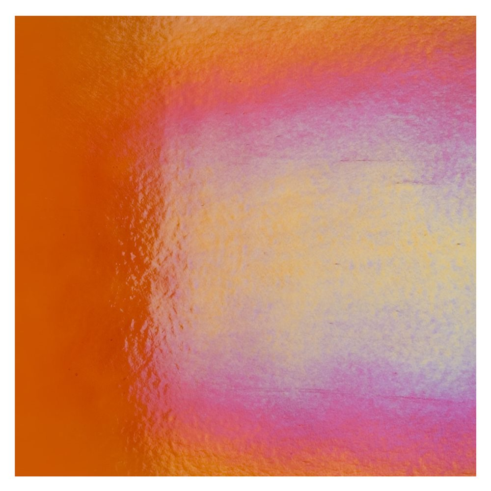 Bullseye Orange - Transparent - Rainbow Iridescent - 3mm - Fusible Glass Sheets