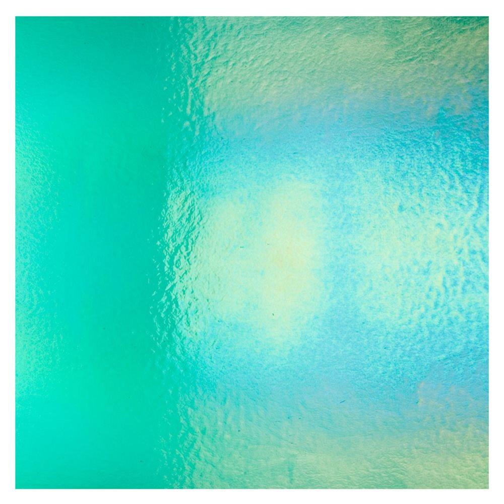 Bullseye Emerald Green - Transparent - Rainbow Iridescent - 3mm - Fusible Glass Sheets