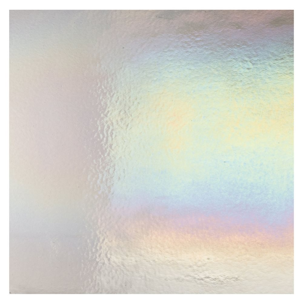 Bullseye Light Silver Gray - Transparent - Rainbow Iridescent - 3mm - Fusible Glass Sheets