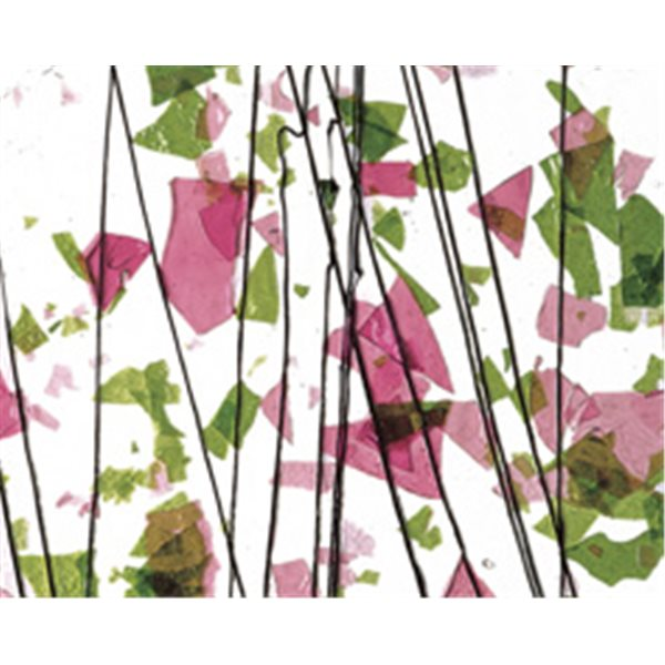 Bullseye Spring Green & Deep Pink on Clear Base Collage - 3mm - Non-Fusible Glas Tafeln
