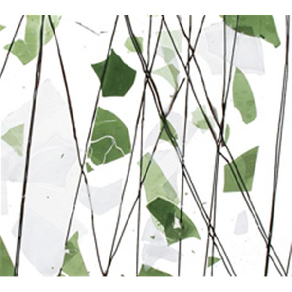 Bullseye Green and White Clear Base Collage - 3mm - Non-Fusible Glass Sheets