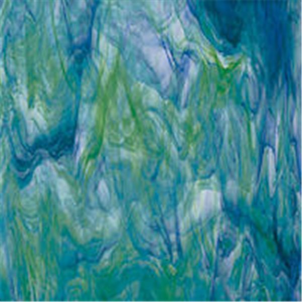 Spectrum White Swirl with Dark Green and Blue - 3mm - Non-Fusible Glass Sheets