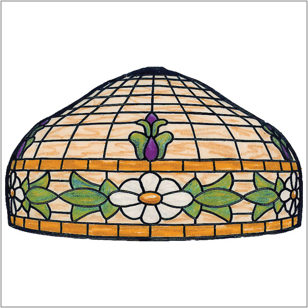 Worden - Floral Border - B24 - Pattern on 1/6 Sectional Lamp Form