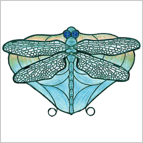 Worden - Dragon Fly Blue - Flat Design  - Pattern Packet with Filligrees and Jewels
