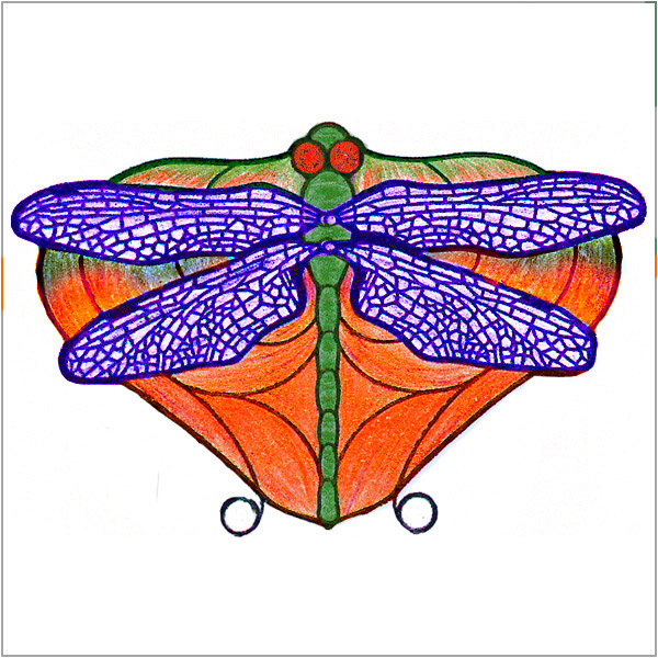 Worden - Dragon Fly Orange - Flat Design  - Pattern Packet with Filligrees and Jewels