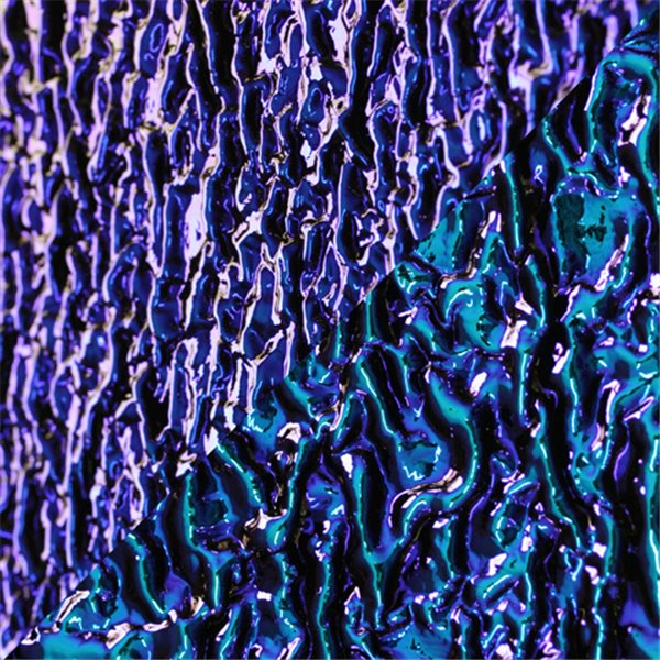Dichroic - Amber/Bright Blue - Granite Ripple - On Black - 3mm