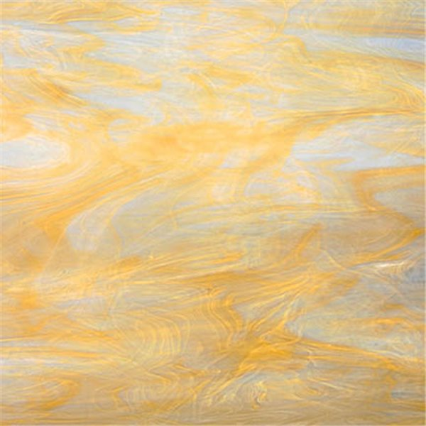 Spectrum White Swirled with Pale Amber - 3mm - Plaque Non-Fusing