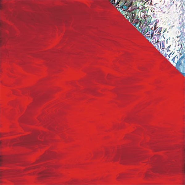 Spectrum Red and White Wispy - Iridescent - 3mm - Non-Fusible Glass Sheets