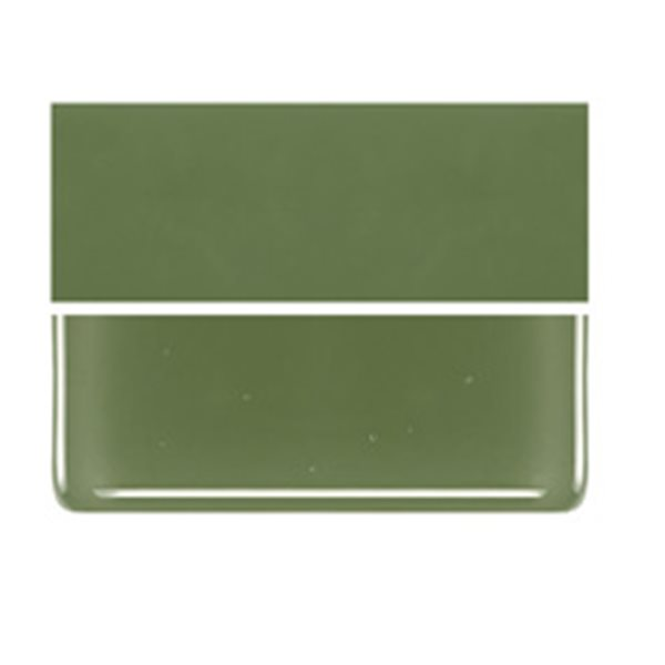 Bullseye Olive Green - Opalescent - 2mm - Thin Rolled - Fusible Glass Sheets
