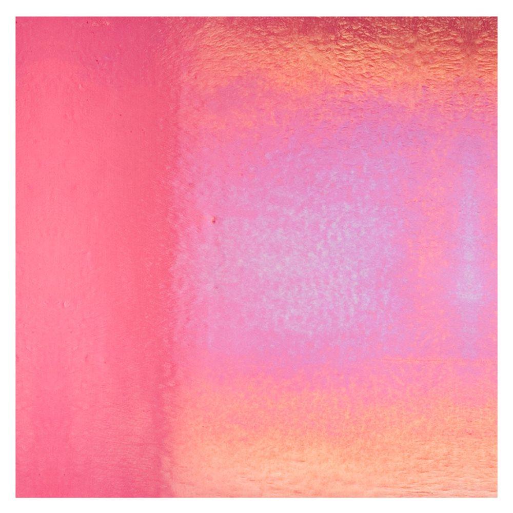 Bullseye Light Pink Striker - Transparent - Rainbow Iridescent - 3mm - Fusible Glass Sheets
