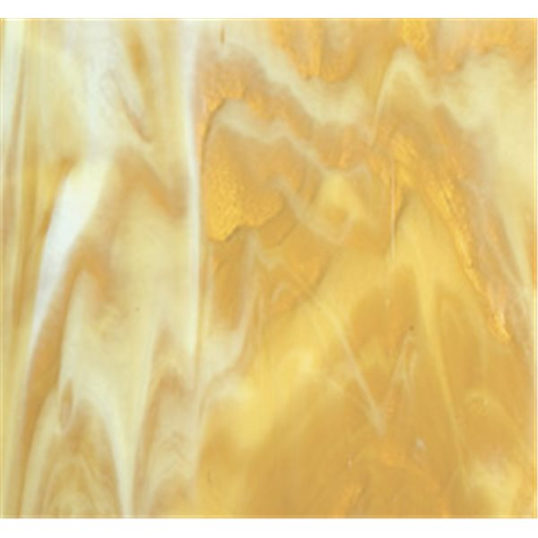Bullseye Medium Amber - White 2 Color Mix - 3mm - Fusible Glass Sheets