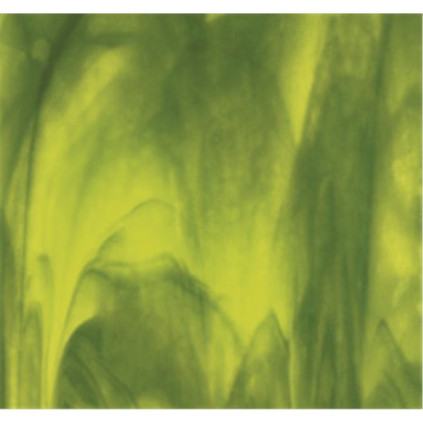 Bullseye Yellow Opal - Deep Forest Green 2 Color Mix - 3mm - Single Rolled - Fusible Glass Sheets