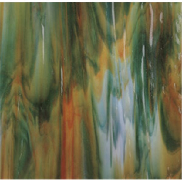 Bullseye White - Orange Opal - Deep Forest Green 3 Color Mix - 3mm - Single Rolled - Fusible Glass Sheets