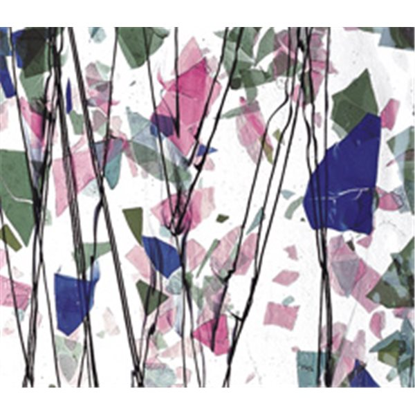 Bullseye SPRING: Blue, Green, Aqua & Pink on Clear Base - Collage - 3mm - Single Rolled - Fusible Glass Sheets