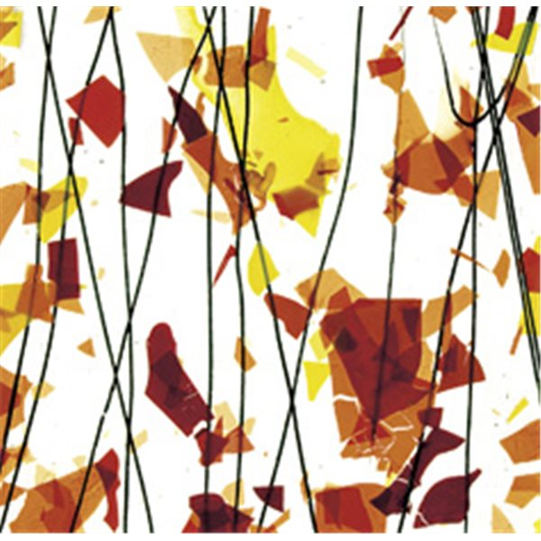 Bullseye AUTUMN: Orange, Yellow & Red on Clear Base - Collage - 3mm - Single Rolled - Fusible Glass Sheets