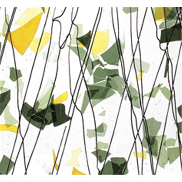 Bullseye SUMMER: Green & Yellow on Clear Base - Collage - 3mm - Single Rolled - Fusible Glass Sheets