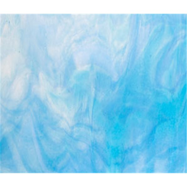 Bullseye Clear - Turquoise Blue - White 3 Color Mix - 3mm - Fusible Glass Sheets