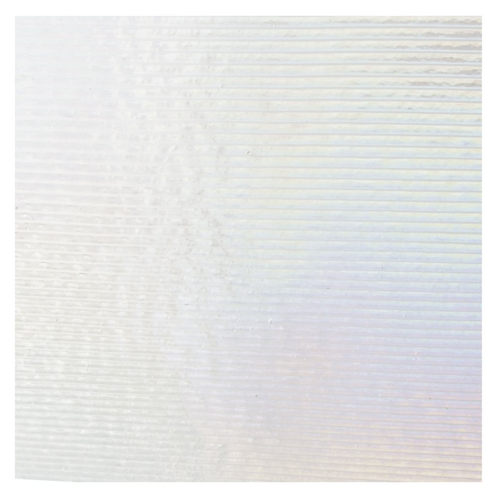 Bullseye Clear - Transparent - Reed Texture Irid - 3mm - Fusible Glass Sheets
