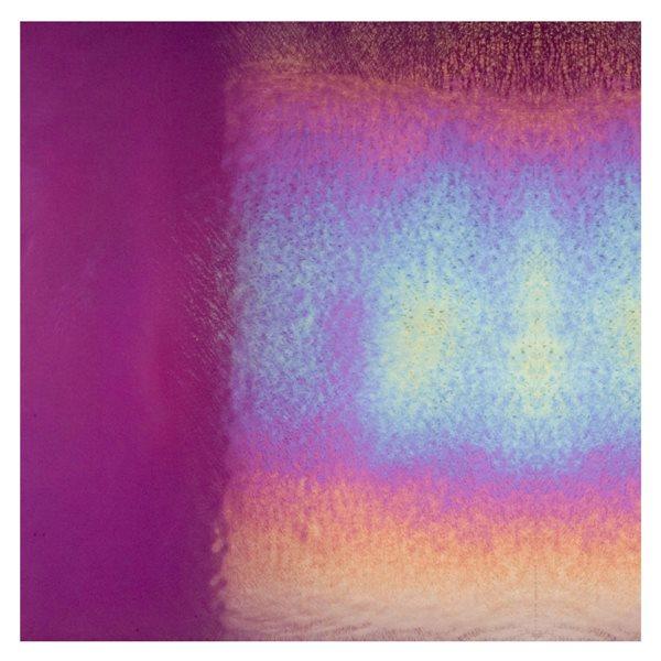 Bullseye Violet Striker - Transparent - Rainbow Iridescent - 3mm - Fusible Glass Sheets