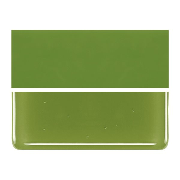 Bullseye Pea Pod Green - Opalescent - 2mm - Thin Rolled - Fusible Glass Sheets