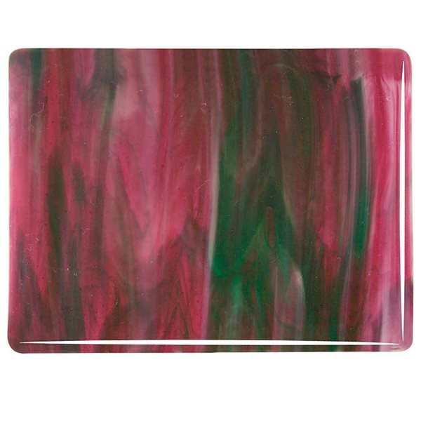 Cranberry Pink Transparent, Emerald Green Transparent & White Opalescent - 3+ Color Mix - 3mm - Fusible Glass Sheets