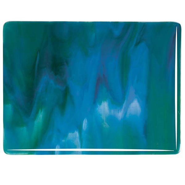 Bullseye Azure Blue & Jade Green Opalescent, Neo-Lavender Shift Transparent 3+ Color Mix - 3mm - Fusible