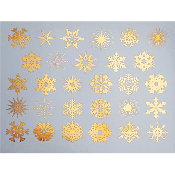 Decal - Small Snowflakes - Gold - 14x10 cm