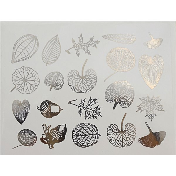 Decal - Leaves - Platinum - 14x10 cm