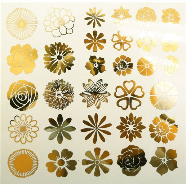 Decal - Flowers - Gold - 14x10 cm