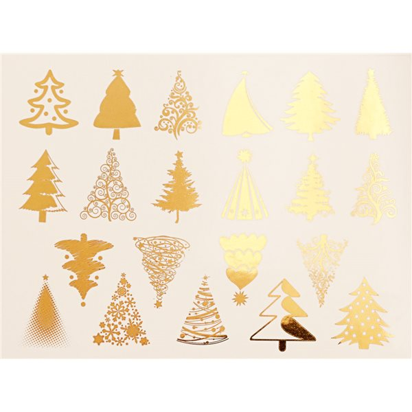Decal - Xmas Trees - Gold - 14x10 cm