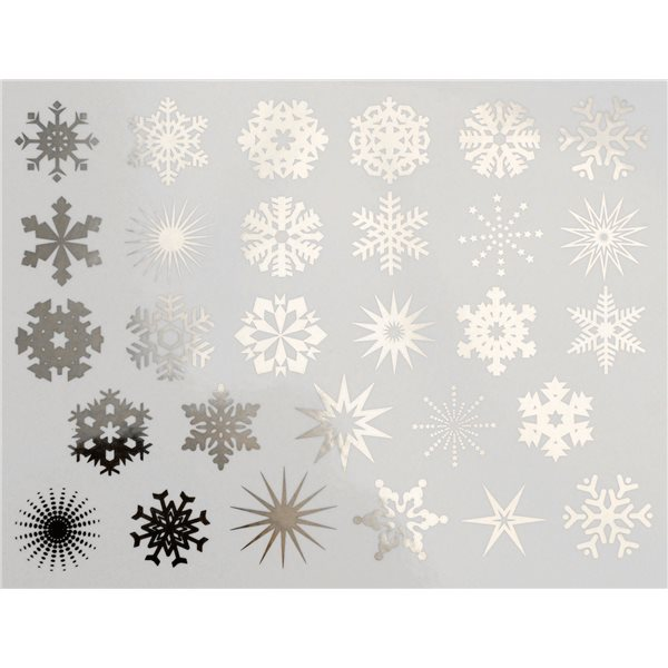 Decal - Small Snowflakes - Platinum - 14x10 cm