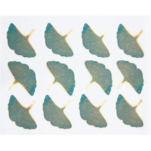 Decal - Ginko Leaves - Colour - 14x10 cm- Non-Food Safe