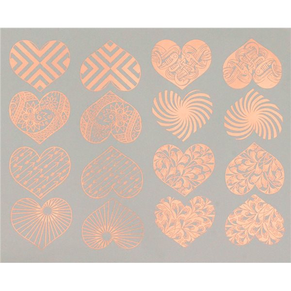 Decal - Hearts - Copper - 14x10 cm