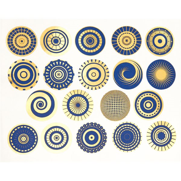 Decal - Circles - Blue & Gold - 14x10cm