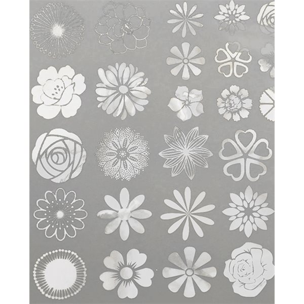 Decal - Large Flowers - Mica White - 14x10 cm