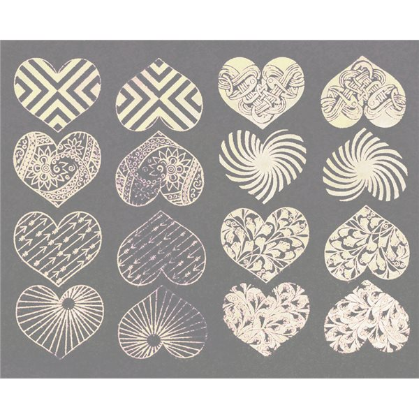 Decal - Hearts - Platinum - 14x10 cm