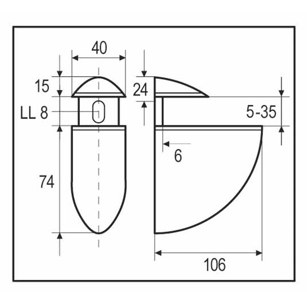 Glass Shelf Support - Oval - Large 40 x 106 mm